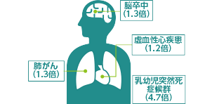 脳卒中、肺がん、虚血性心疾患、乳幼児突然死症候群での死亡は、受動喫煙が原因で高くなると考えられています